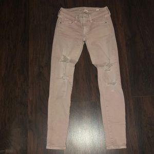 Super Skinny Blush Color Distressed Jeans